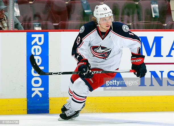 Cam Atkinson of the Columbus Blue Jackets skates up ice during their NHL game against the Vancouver Canucks at Rogers Arena February 4 2016 in...