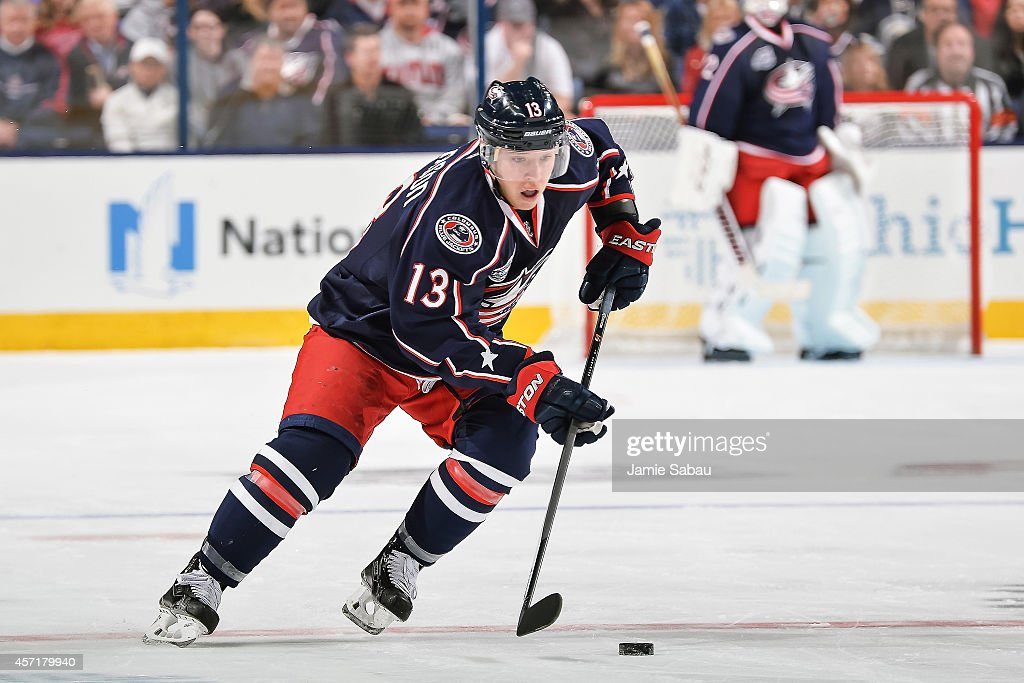 Cam Atkinson of the Columbus Blue Jackets skates with the puck against the New York Rangers on October 11 2014 at Nationwide Arena in Columbus Ohio