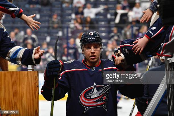 Cam Atkinson of the Columbus Blue Jackets warms up before a game against the Ottawa Senators on November 24 2017 at Nationwide Arena in Columbus Ohio
