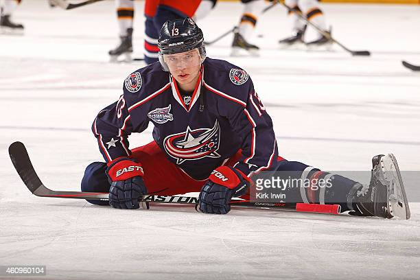 Cam Atkinson of the Columbus Blue Jackets warms up prior to the start of the game against the Boston Bruins on December 27 2014 at Nationwide Arena...