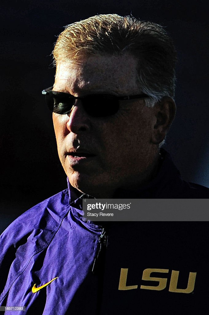 Cam Cameron, offensive coordinator of the LSU Tigers, watches his team prior to a game against the Ole Miss Rebels at Vaught-Hemingway Stadium on October 19, 2013 in Oxford, Mississippi. Ole Miss won the game 27-24.