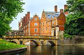 Cam Canal of Cambridge University view, England.