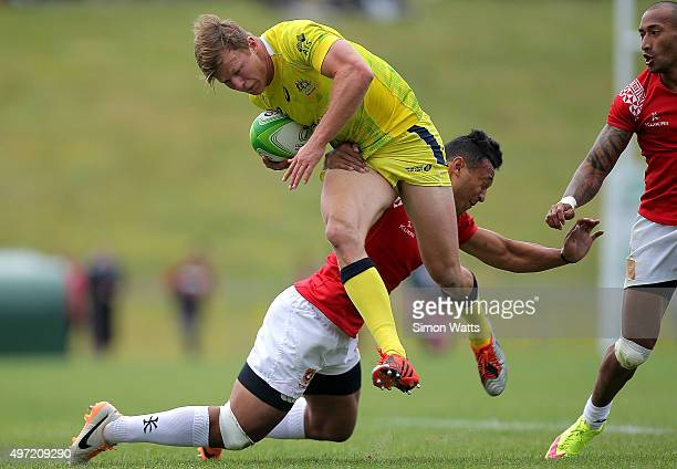 Cam Clark of Austraila in action during the World Sevens Oceania Olympic Qualification Final between Australia and Tonga on November 15 2015 in...