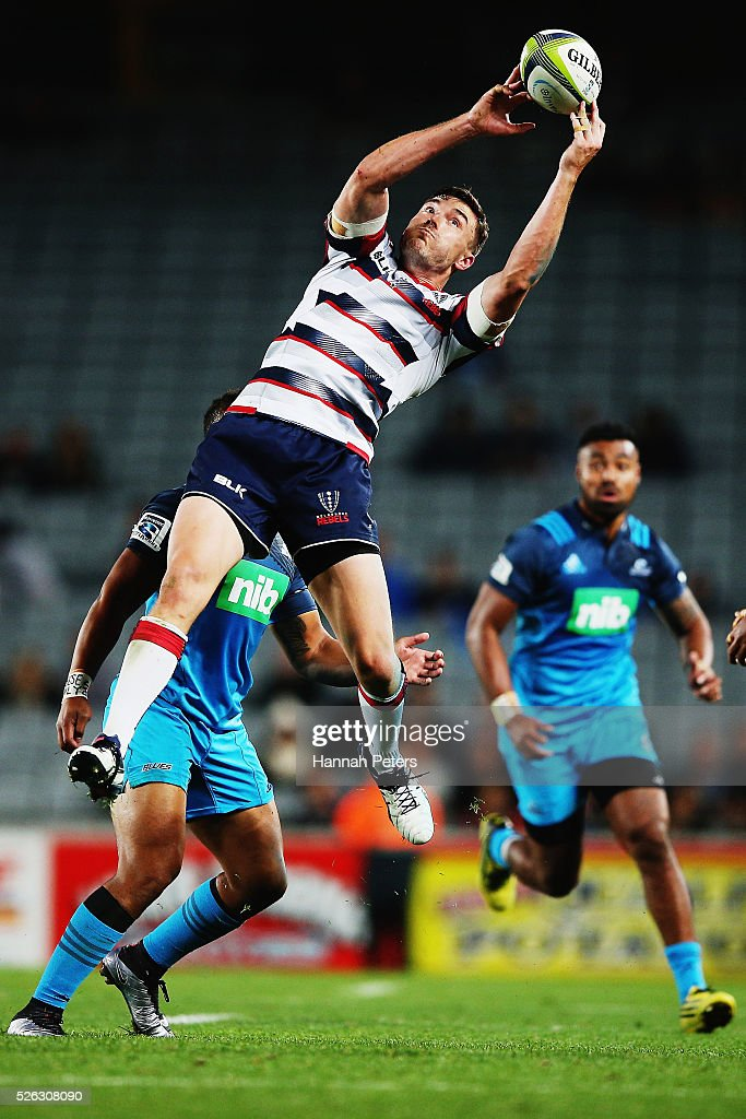 Cam Crawford of the Rebels secures the high ball during the Super Rugby round ten match between the Blues and the Melbourne Rebels at Eden Park on April 30, 2016 in Auckland, New Zealand.