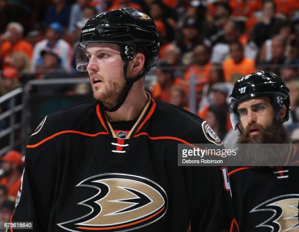 Cam Fowler and Patrick Eaves of the Anaheim Ducks line up for a faceoff in Game One of the Western Conference Second Round against the Edmonton...