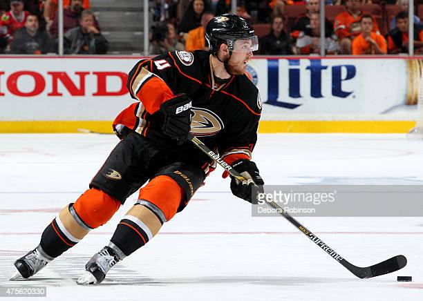 Cam Fowler of the Anaheim Ducks handles the puck against the Chicago Blackhawks in Game Seven of the Western Conference Finals during the 2015 NHL...