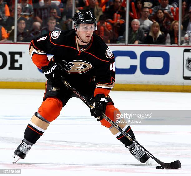 Cam Fowler of the Anaheim Ducks handles the puck against the Winnipeg Jets in Game Two of the Western Conference Quarterfinals during the 2015 NHL...