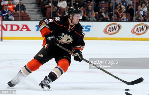Cam Fowler of the Anaheim Ducks handles the puck during the game against the Toronto Maple Leafs on March 3 2017 at Honda Center in Anaheim California