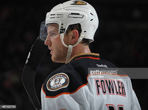 Cam Fowler of the Anaheim Ducks looks on during a break in the action against the New York Rangers at Madison Square Garden on March 22 2015 in New...