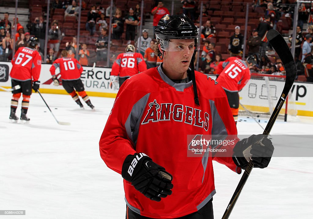 Cam Fowler #4 of the Anaheim Ducks looks on during warmups during Angel Night before the game against the Arizona Coyotes on February 5, 2016 at Honda Center in Anaheim, California.