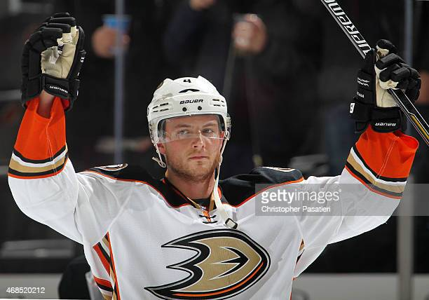 Cam Fowler of the Anaheim Ducks looks on prior to the game against the New Jersey Devils at the Prudential Center on March 29 2015 in Newark New...