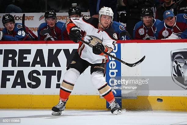 Cam Fowler of the Anaheim Ducks passes the puck against the Colorado Avalanche at Pepsi Center on April 9 2016 in Denver Colorado the Ducks defeated...