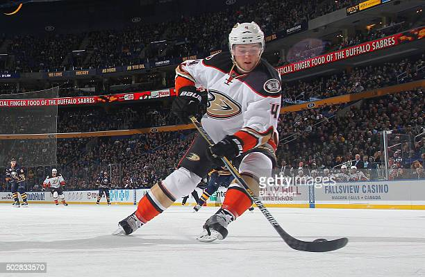 Cam Fowler of the Anaheim Ducks skates against the Buffalo Sabres during an NHL game on December 17 2015 at the First Niagara Center in Buffalo New...
