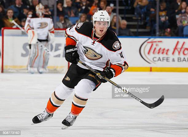 Cam Fowler of the Anaheim Ducks skates against the Buffalo Sabres at First Niagara Center on December 17 2015 in Buffalo New York