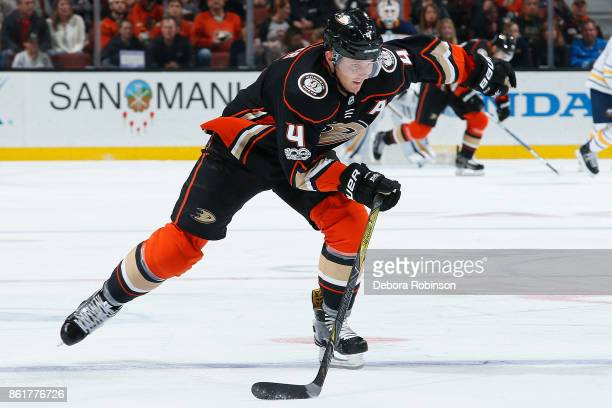 Cam Fowler of the Anaheim Ducks skates against the Buffalo Sabres during his 500th NHL game on October 15 2017 at Honda Center in Anaheim California