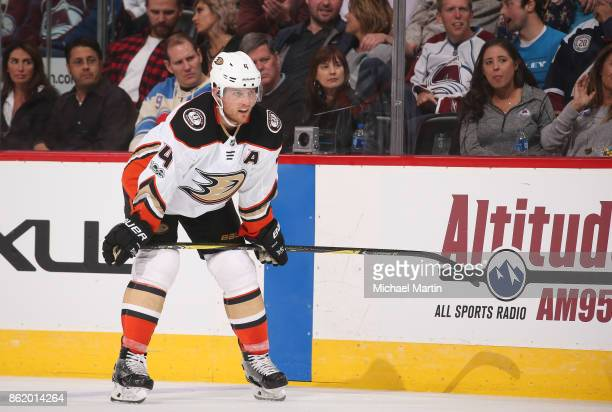 Cam Fowler of the Anaheim Ducks skates against the Colorado Avalanche at the Pepsi Center on October 13 2017 in Denver Colorado The Avalanche...