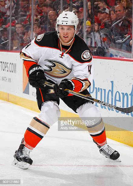 Cam Fowler of the Anaheim Ducks skates against the New Jersey Devils during the game at the Prudential Center on December 19 2015 in Newark New Jersey