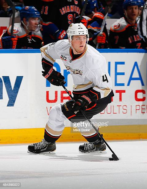Cam Fowler of the Anaheim Ducks skates against the New York Islanders at Nassau Veterans Memorial Coliseum on December 21 2013 in Uniondale New York...