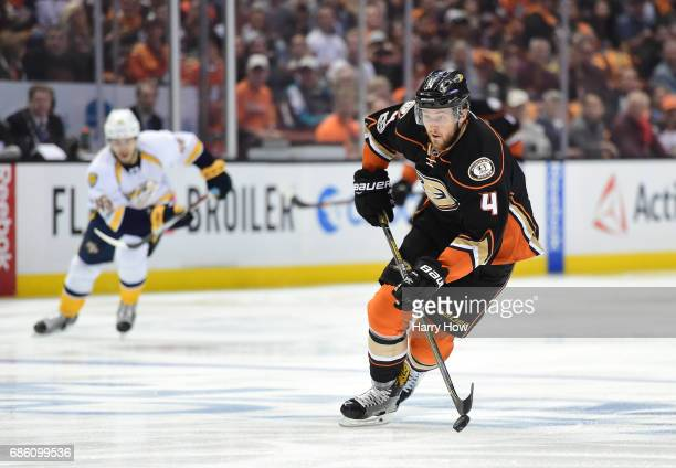 Cam Fowler of the Anaheim Ducks skates in alone on a breakaway in the first period of Game Five of the Western Conference Final during the 2017...