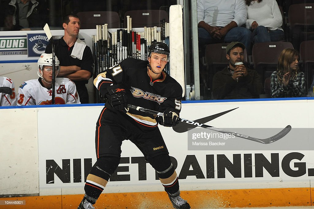 Cam Fowler #54 of the Anaheim Ducks skates on the ice against the Calgary Flames during the Young Stars Tournament at the South Okanagan Event Centre on September 13, 2010 in Penticton, Canada.