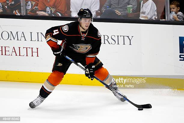 Cam Fowler of the Anaheim Ducks skates with the puck during the third period of a game agains the at Honda Cente r on October 18 2015 in Anaheim...