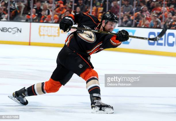 Cam Fowler of the Anaheim Ducks takes a slap shot during the game against the Edmonton Oilers in Game Two of the Western Conference Second Round...