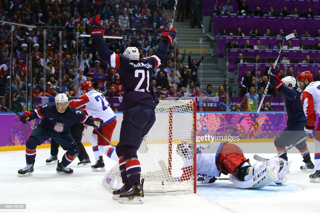 <a gi-track='captionPersonalityLinkClicked' href=/galleries/search?phrase=Cam+Fowler&family=editorial&specificpeople=5484080 ng-click='$event.stopPropagation()'>Cam Fowler</a> #3 of the United States celebrates with teammate James van Riemsdyk #21 after scoring a goal against Sergei Bobrovski #72 of Russia in the second period during the Men's Ice Hockey Preliminary Round Group A game on day eight of the Sochi 2014 Winter Olympics at Bolshoy Ice Dome on February 15, 2014 in Sochi, Russia.