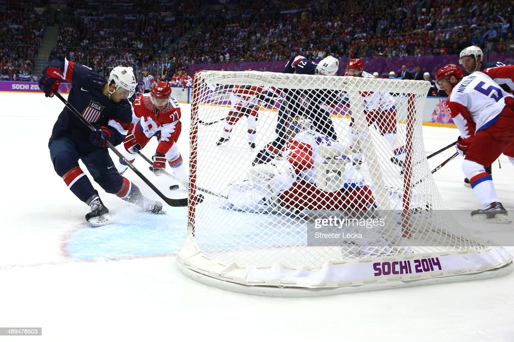 <a gi-track='captionPersonalityLinkClicked' href=/galleries/search?phrase=Cam+Fowler&family=editorial&specificpeople=5484080 ng-click='$event.stopPropagation()'>Cam Fowler</a> #3 of the United States scores a goal against Sergei Bobrovski #72 of Russia in the secod period during the Men's Ice Hockey Preliminary Round Group A game on day eight of the Sochi 2014 Winter Olympics at Bolshoy Ice Dome on February 15, 2014 in Sochi, Russia.