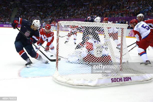Cam Fowler of the United States scores a goal against Sergei Bobrovski of Russia in the secod period during the Men's Ice Hockey Preliminary Round...