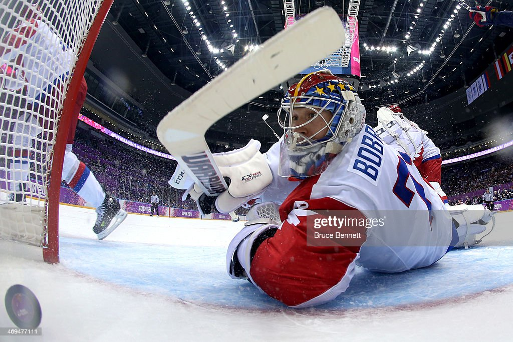 Cam Fowler #3 of the United States (not seen) scores a goal against Sergei Bobrovski #72 of Russia during the Men's Ice Hockey Preliminary Round Group A game on day eight of the Sochi 2014 Winter Olympics at Bolshoy Ice Dome on February 15, 2014 in Sochi, Russia.