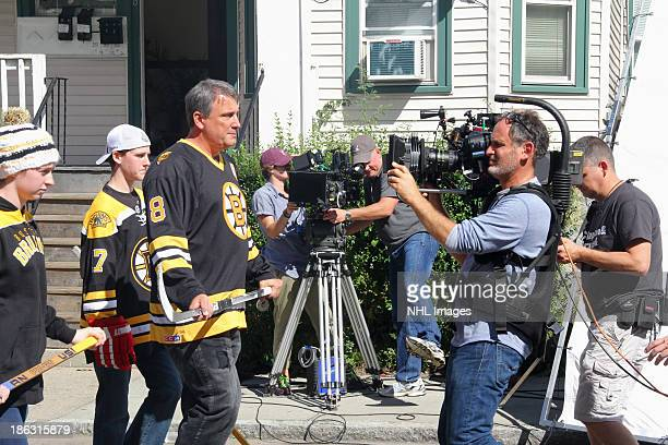 Cam Neely of the Boston Bruins performs on the set of the 2013 Discover NHL Thanksgiving Showdown NBC Commercial Shoot on September 14 2013 in...