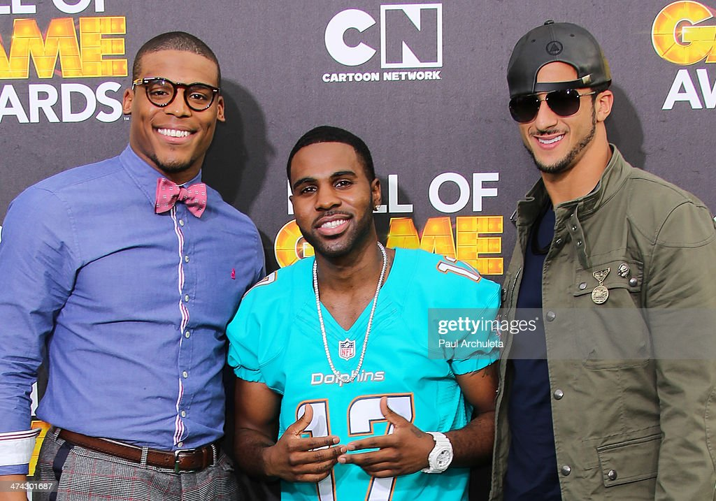Cam Newton Jason Derulo and Colin Kaepernick attend the Cartoon Network's Hall Of Game Awards at Barker Hangar on February 15 2014 in Santa Monica...