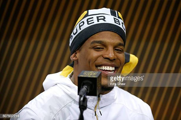 Cam Newton of the Carolina Panthers addresses the media at Super Bowl Opening Night Fueled by Gatorade at SAP Center on February 1 2016 in San Jose...