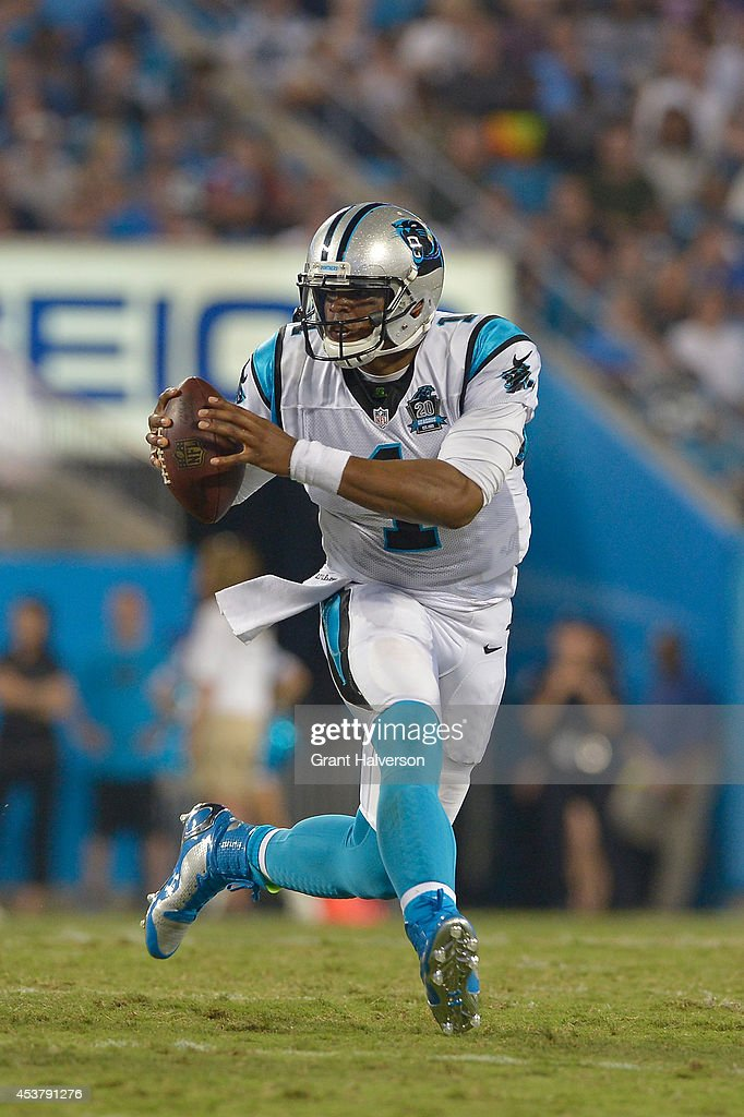 Cam Newton #1 of the Carolina Panthers against the Kansas City Chiefs during their game at Bank of America Stadium on August 17, 2014 in Charlotte, North Carolina. Carolina won 28-16.