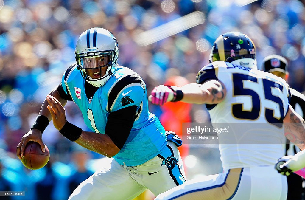 <a gi-track='captionPersonalityLinkClicked' href=/galleries/search?phrase=Cam+Newton+-+American+Football+Quarterback&family=editorial&specificpeople=4516761 ng-click='$event.stopPropagation()'>Cam Newton</a> #1 of the Carolina Panthers against the St. Louis Rams during play at Bank of America Stadium on October 20, 2013 in Charlotte, North Carolina. The Panthers won 30-15.