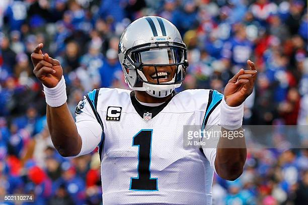 Cam Newton of the Carolina Panthers celebrates a touchdown in the third quarter against the New York Giants during their game at MetLife Stadium on...