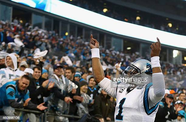 Cam Newton of the Carolina Panthers celebrates with the fans during their NFC Wild Card Playoff game against the Arizona Cardinals at Bank of America...