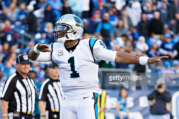 Cam Newton of the Carolina Panthers does his touchdown dance after scoring a touchdown against the Tennessee Titans at Nissan Stadium on November 15...