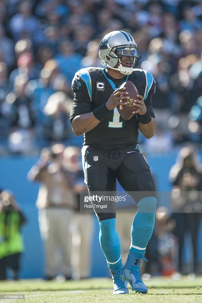 Cam Newton #1 of the Carolina Panthers drops back to pass during the NFC Divisional Playoff Game against the San Francisco 49ers at Bank of America Stadium on January 12, 2014 in Charlotte, North Carolina.