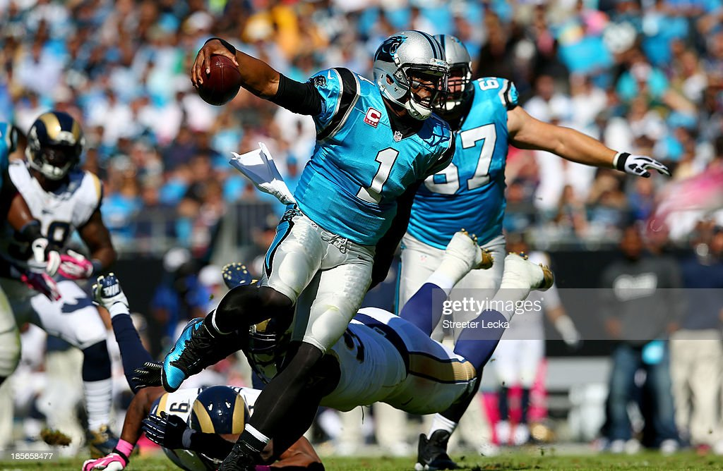 <a gi-track='captionPersonalityLinkClicked' href=/galleries/search?phrase=Cam+Newton+-+American+Football+Quarterback&family=editorial&specificpeople=4516761 ng-click='$event.stopPropagation()'>Cam Newton</a> #1 of the Carolina Panthers during their game at Bank of America Stadium on October 20, 2013 in Charlotte, North Carolina.