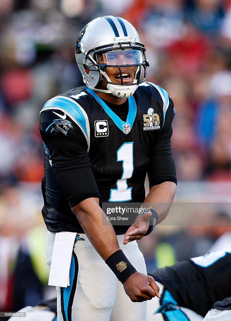 <a gi-track='captionPersonalityLinkClicked' href=/galleries/search?phrase=Cam+Newton+-+American+Football+Quarterback&family=editorial&specificpeople=4516761 ng-click='$event.stopPropagation()'>Cam Newton</a> #1 of the Carolina Panthers gestures against the Denver Broncos in the first quarter during Super Bowl 50 at Levi's Stadium on February 7, 2016 in Santa Clara, California.