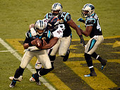 Cam Newton of the Carolina Panthers gets sacked by DeMarcus Ware of the Denver Broncos in the second quarter The Denver Broncos played the Carolina...