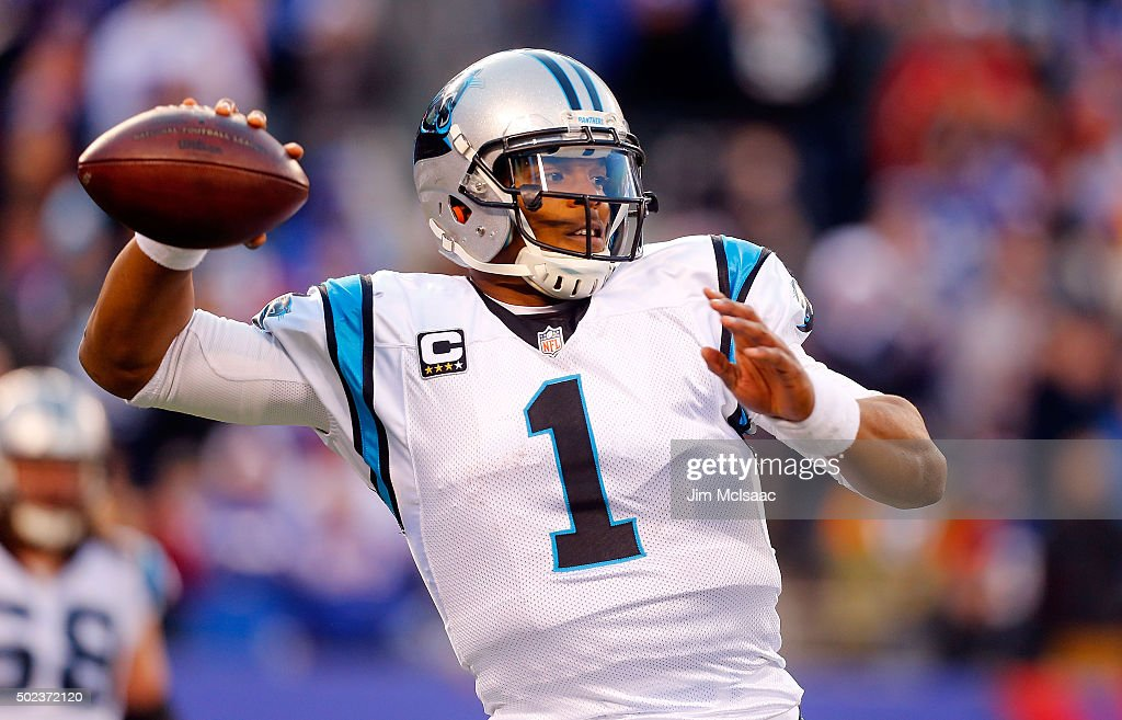 Cam Newton #1 of the Carolina Panthers in action against the New York Giants on December 20, 2015 at MetLife Stadium in East Rutherford, New Jersey. The Panthers defeated the Giants 38-35.