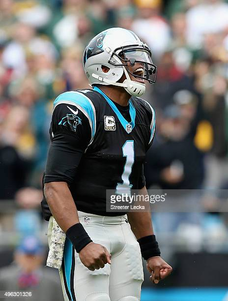 Cam Newton of the Carolina Panthers reacts after a play against the Green Bay Packers during their game at Bank of America Stadium on November 8 2015...