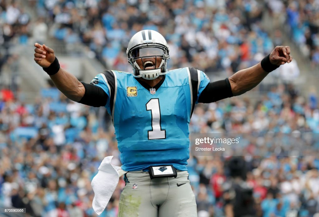 Cam Newton #1 of the Carolina Panthers reacts after a play against the Atlanta Falcons during their game at Bank of America Stadium on November 5, 2017 in Charlotte, North Carolina.