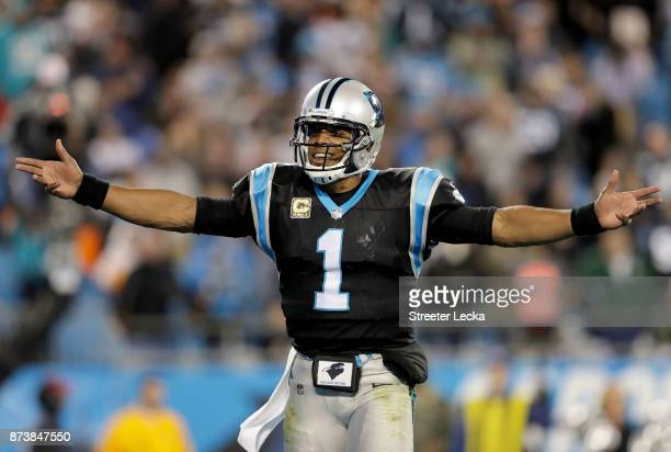 Cam Newton of the Carolina Panthers reacts after a play against the Miami Dolphins during their game at Bank of America Stadium on November 13 2017...