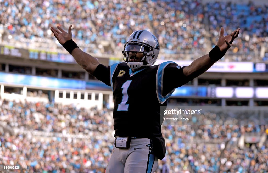 Cam Newton #1 of the Carolina Panthers reacts after a touchdown against the Minnesota Vikings in the third quarter during their game at Bank of America Stadium on December 10, 2017 in Charlotte, North Carolina.