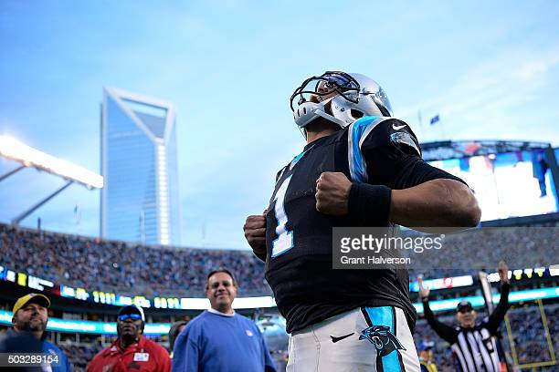 Cam Newton of the Carolina Panthers reacts after scoring a touchdown during the second quarter of their game against the Tampa Bay Buccaneers at Bank...