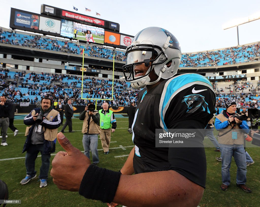 <a gi-track='captionPersonalityLinkClicked' href=/galleries/search?phrase=Cam+Newton+-+American+Football+Quarterback&family=editorial&specificpeople=4516761 ng-click='$event.stopPropagation()'>Cam Newton</a> #1 of the Carolina Panthers reacts after their game against the Oakland Raiders at Bank of America Stadium on December 23, 2012 in Charlotte, North Carolina.