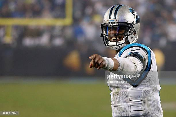 Cam Newton of the Carolina Panthers reacts after winning 2716 against the Arizona Cardinals after their NFC Wild Card Playoff game at Bank of America...